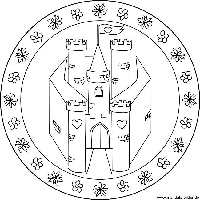Mandala Märchenschloss Gratis Ausmalbild Von Einer Burg