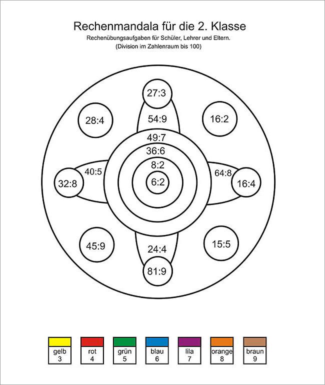 Geteiltaufgaben - Rechen Mandalas als u00dcbungsblu00e4tter zum Ausdrucken