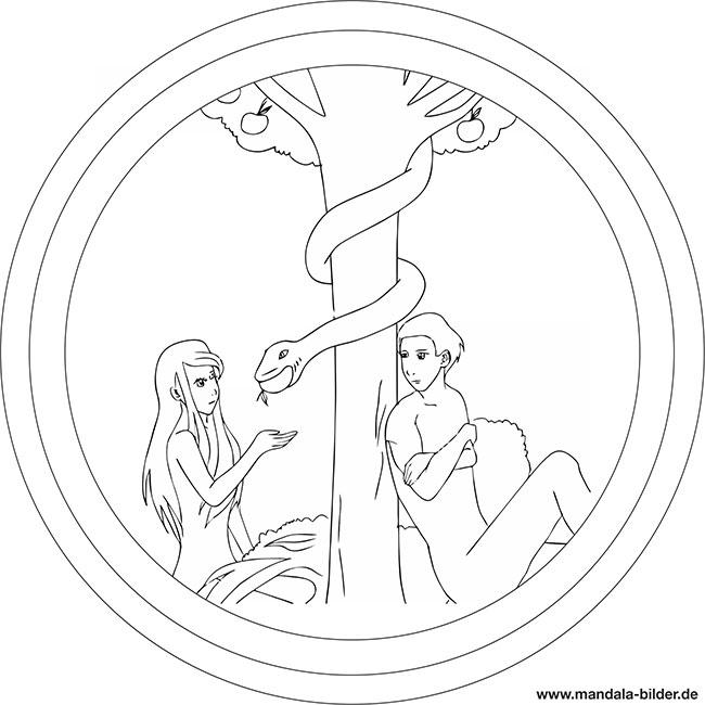 Adam Und Eva Mandala Zum Ausmalen