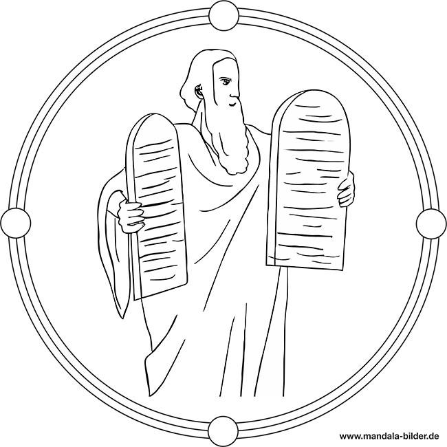 Die Zehn Gebote Mandala Ausmalbild Religion