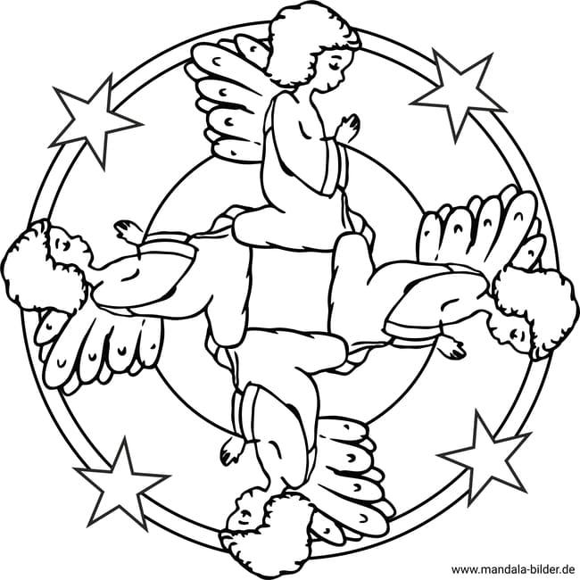 engel betet  mandala zum ausmalen und ausdrucken