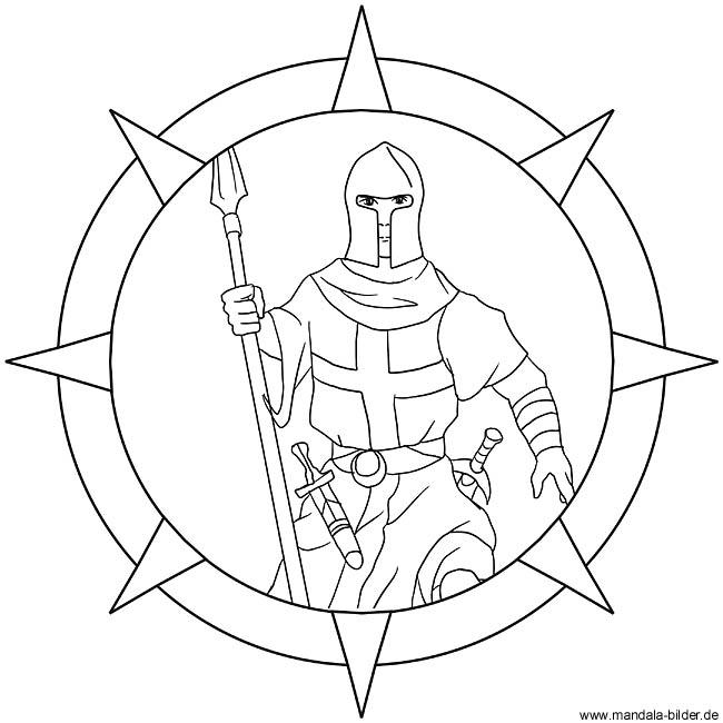 Ritter Mandala Als Kinder Ausmalbild Zum Ausdrucken