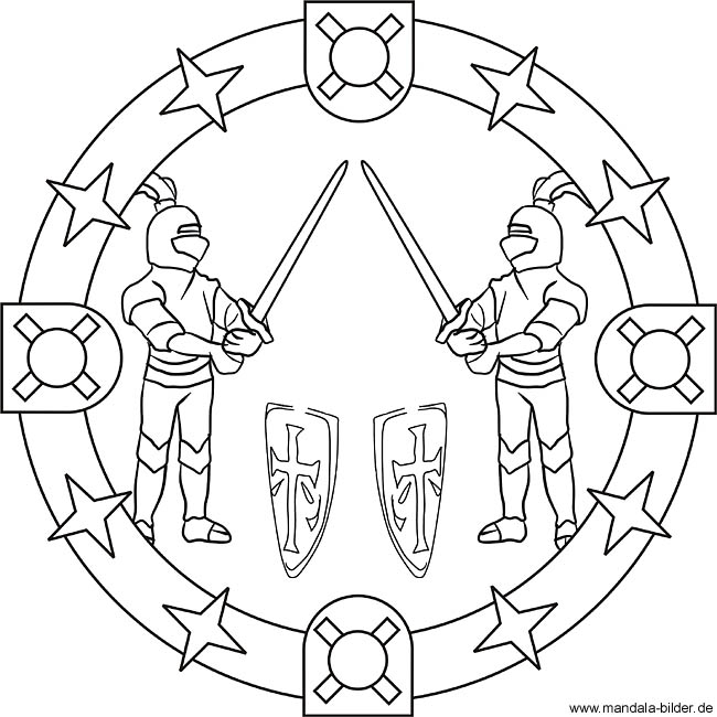 Mandala Ausmalbild Ritter Beim Schwertkampf Ritterturnie