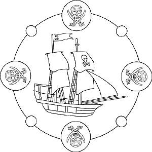 Mandalas mit Schiffen und Booten - Kostenlose Malvorlagen