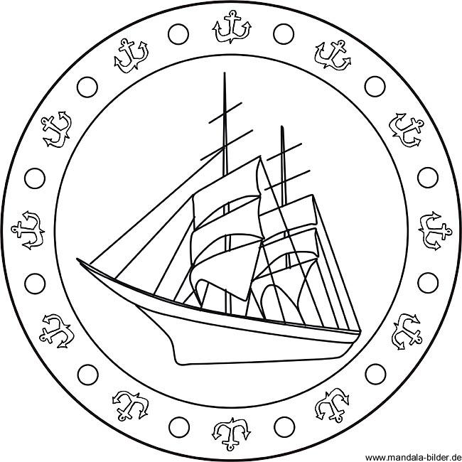seegelschiff  mandala ausmalbild für kinder zum ausdrucken