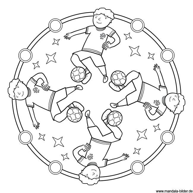 Fußball - Mandala Ausmalbild zum kostenlosen Ausdrucken