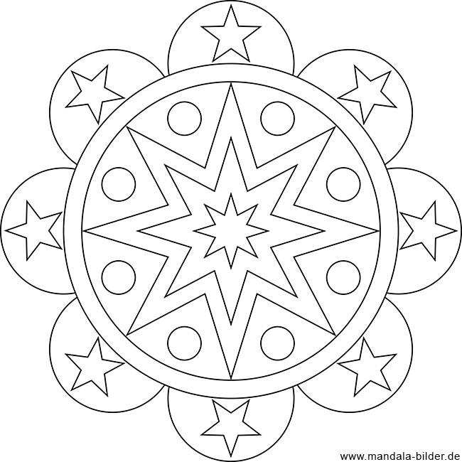 Gratis Ausmalbild mit Sternen als Mandala