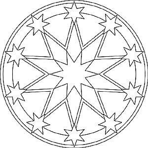Mandala Sonne, Mond und Sterne - Malvorlagen für Kinder und Erwachsene
