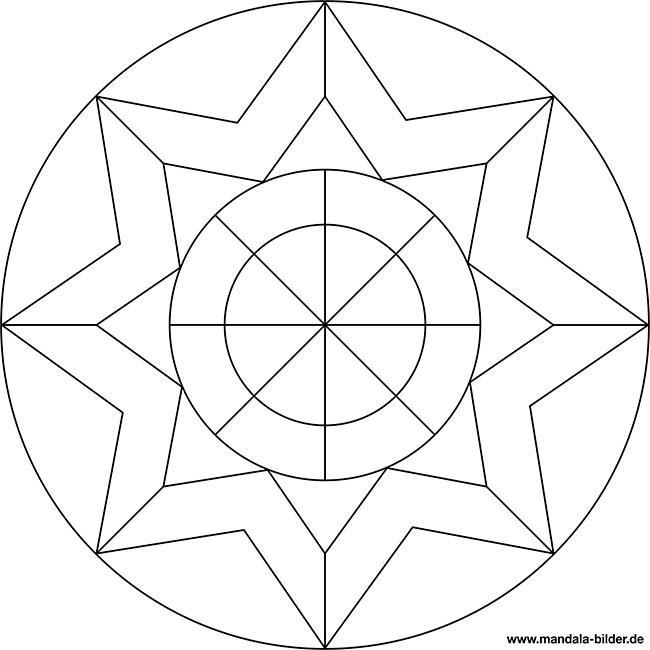 Einfaches Mandala Für Kinder Mit Einem Stern Zum Ausmalen