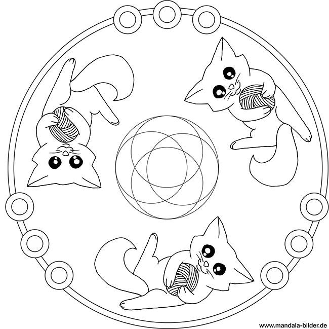 Katzen Mandala – Ausmalbild für Kinder