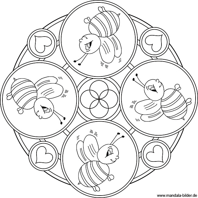 Bienen Mandala - Kinder Malvorlage zum kostenlosen Ausdrucken
