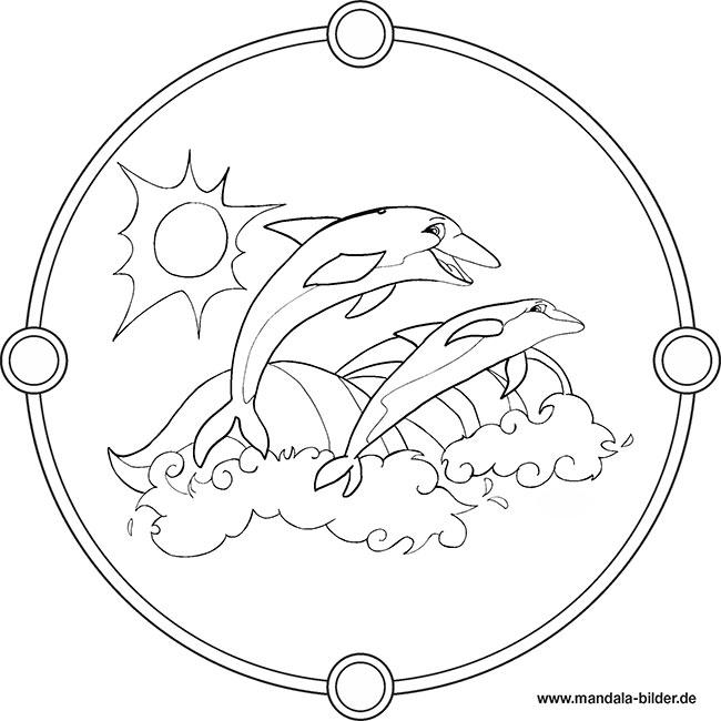 Zwei Delfine im Meer - Kostenloses Mandala Ausmalbild