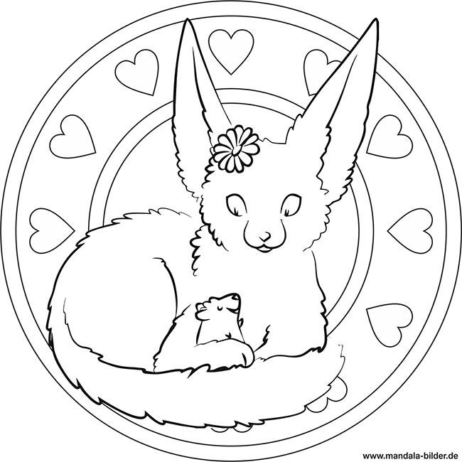 Mandala Malvorlage Fuchs Und Kleiner Hamster