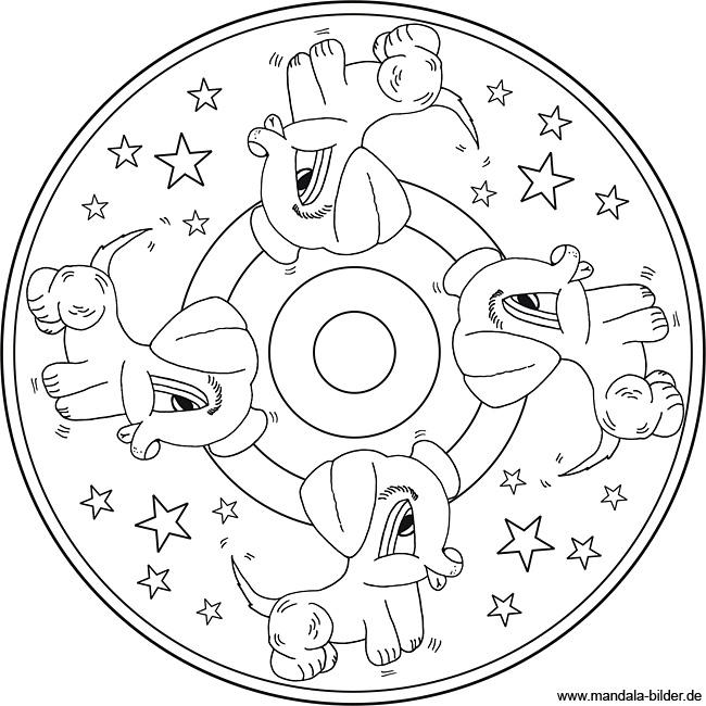 Kleine süsse Hunde - Mandala Malvorlage zum Ausdrucken