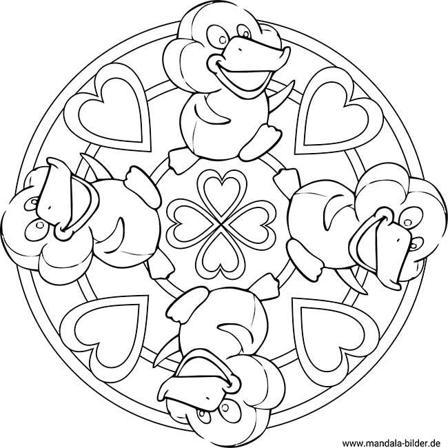 Vier Küken Kinder Mandala Zum Ausdrucken