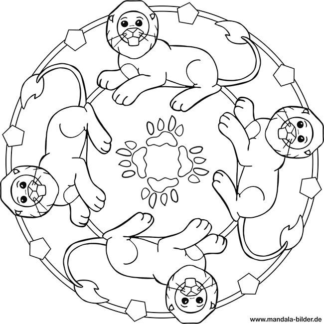 Mandala Löwe Für Kinder Zum Ausmalen