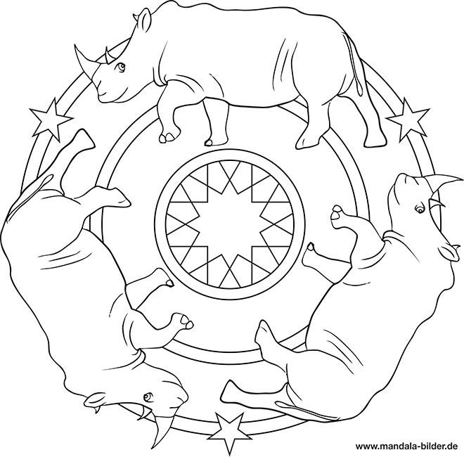 Nashorn Kinder Mandalas Zum Ausmalen