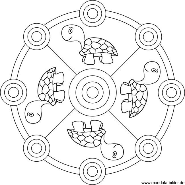 Mandala Ausmalbild mit vier Schildkröten zum Ausdrucken