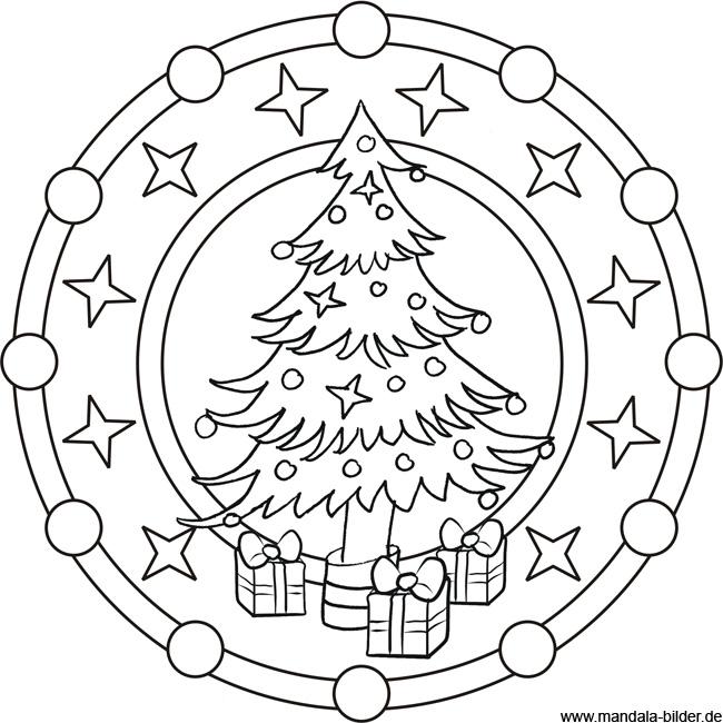 Mandala Malvorlage zu Weihnachten | Weihnachtsbaum