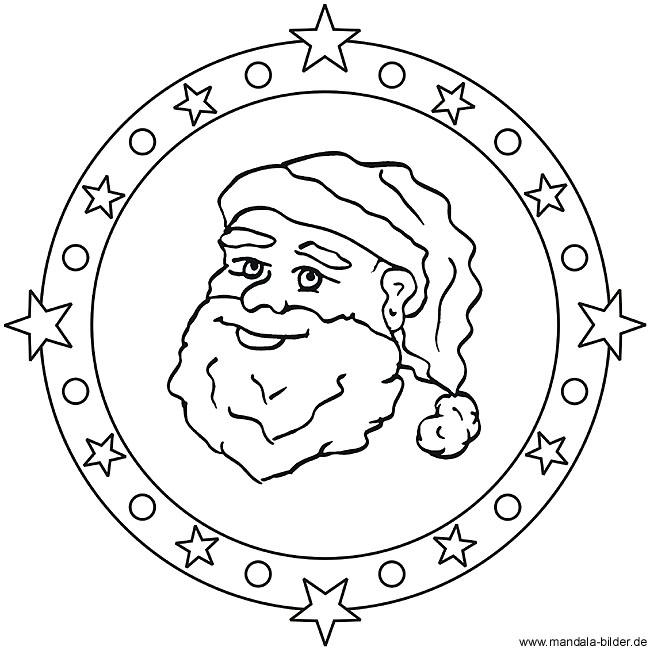 weihnachtsmann als mandala ausmalbild oder window color vorlag