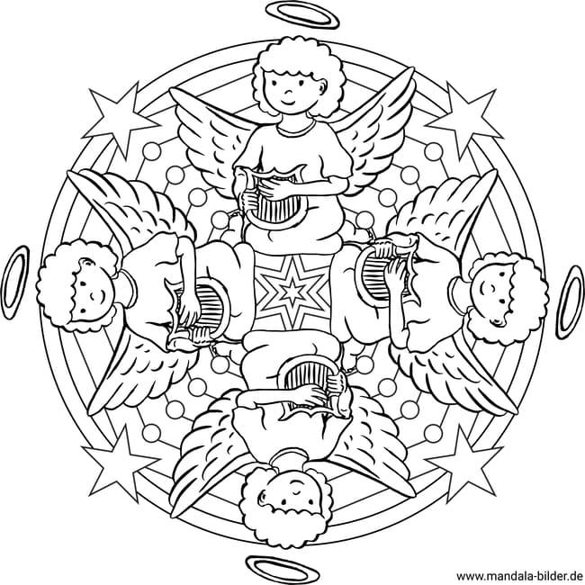 engel mit harfe  mandala zum ausmalen