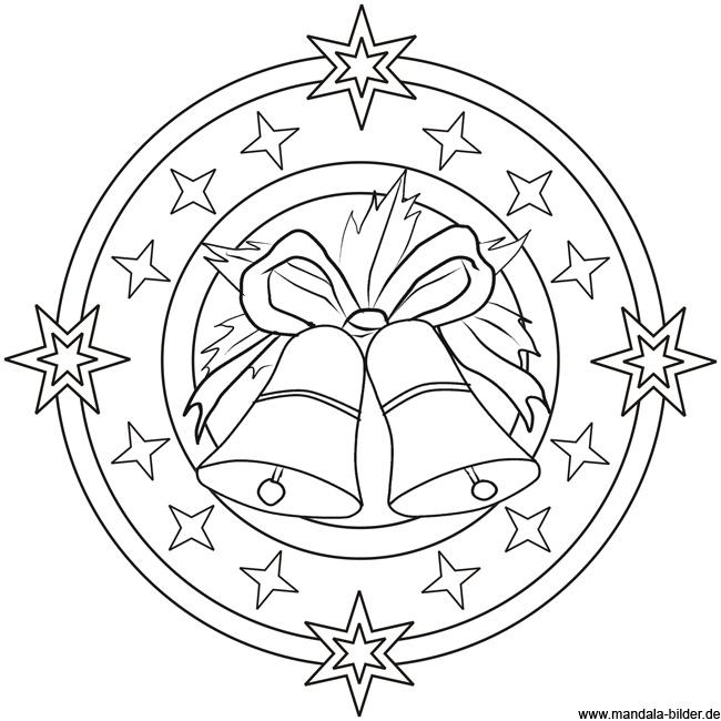 Mandala Vorlage mit Glocken | Ausmalbild zu Weihnachten