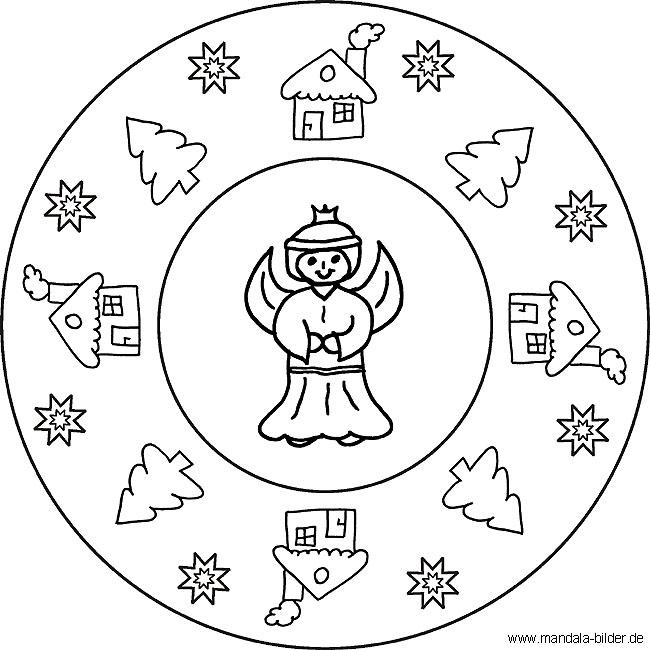 Ausmalbilder Weihnachten Ausdrucken.Mandala Mit Einem Engel Zu Weihnachten Malvorlagen Für Kinder