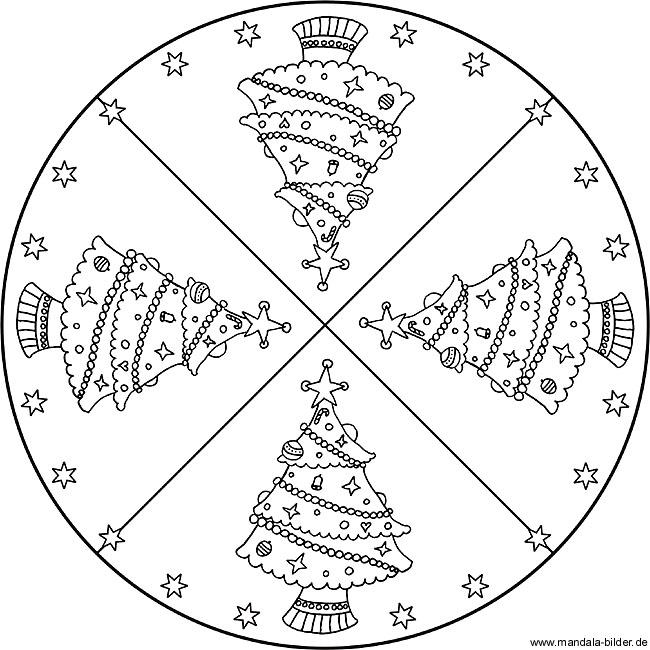 Mandala Vorlage Mit Einem Weihnachtsbaum Zum Ausmalen