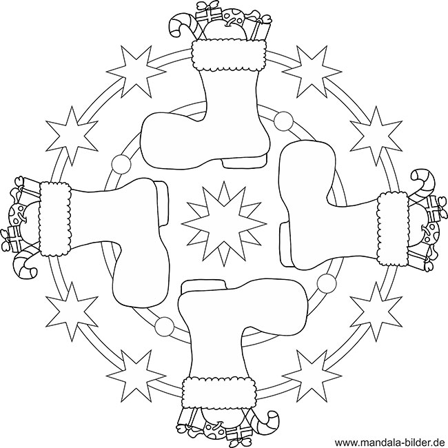 Weihnachtsstiefel - Mandala Vorlage zum Ausdrucken