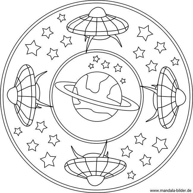 Kinder mandala ufo im weltraum als ausmalbild zum ausdrucken und
