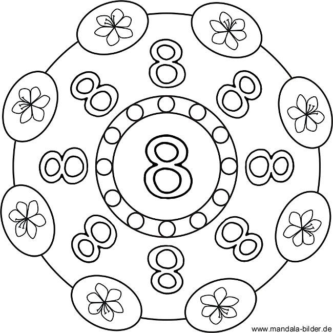 Malvorlagen Zahlen - Zahlenbild mit der Zahl 8