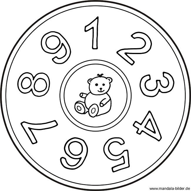 Zahlen Mandala von 1 bis 9 - Zahlenbilder zum Ausdrucken