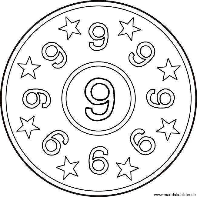 Ausmalbilder Zahlen - Zahlenbild mit der Zahl 9