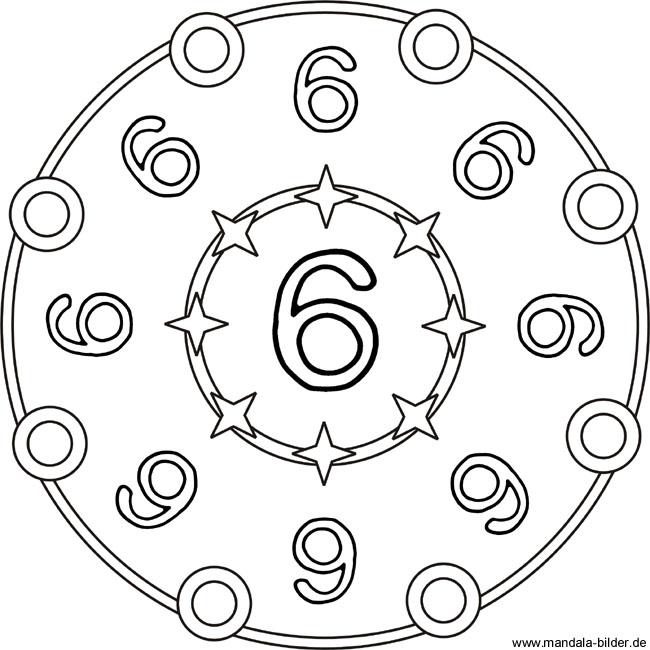 mandala zahlenbild mit der zahl 6 zum ausdrucken und ausmalen