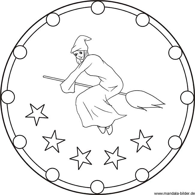 Mandala Ausmalbild Hexe Auf Ihrem Fliegenden Besen